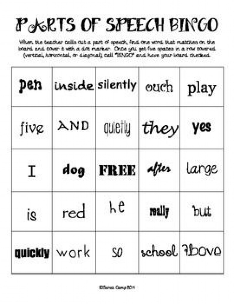 Free Printable Parts Of Speech Bingo | Free Printable - Free Printable Parts Of Speech Bingo