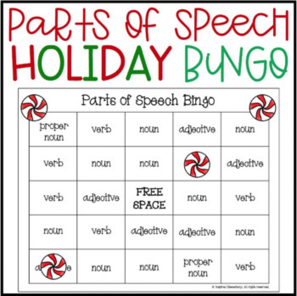 Free Printable Parts Of Speech Bingo   Free Printable - Free Printable Parts Of Speech Bingo