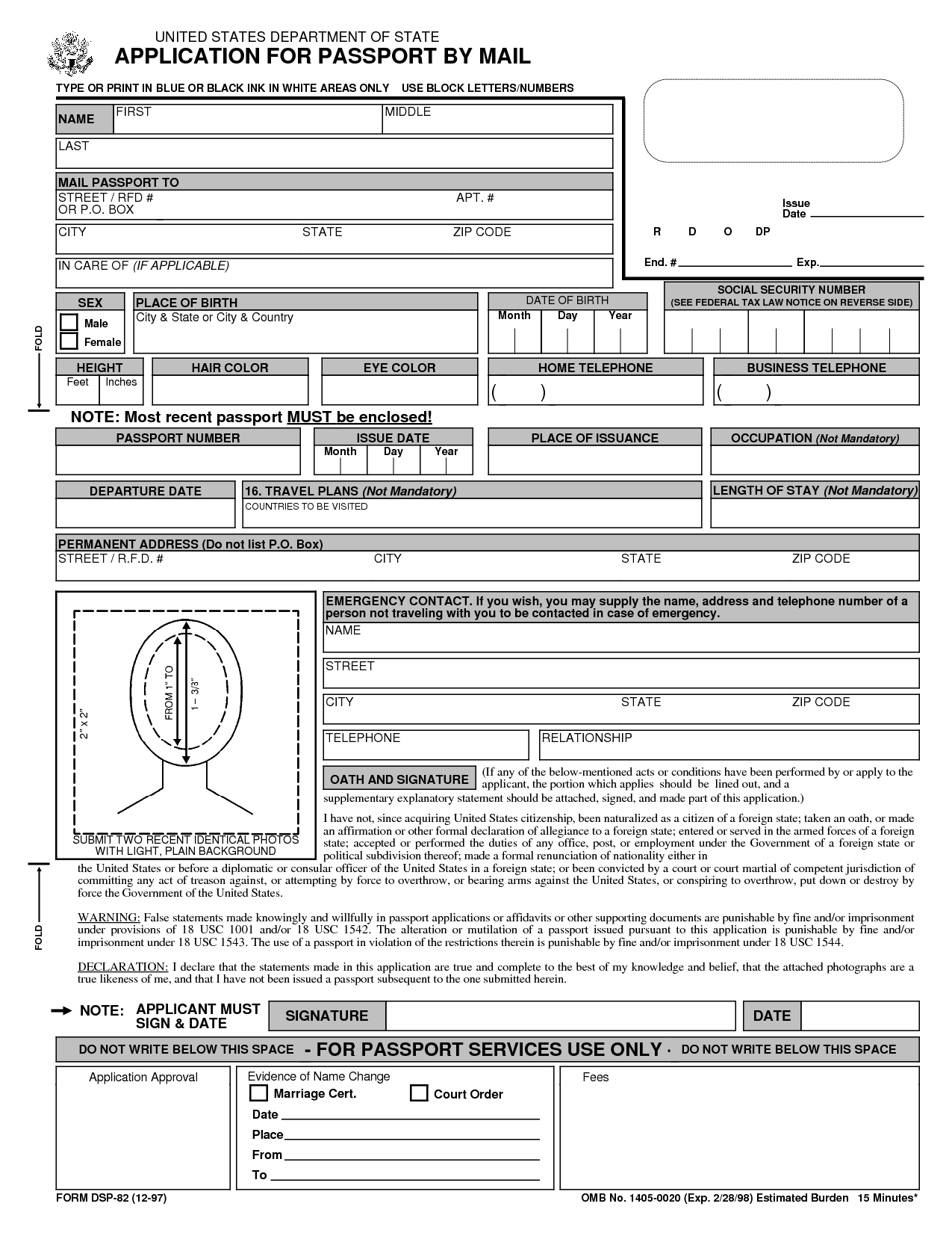 Free Printable Passport Application Form | Passport Renewal Form - Free Printable Passport Template