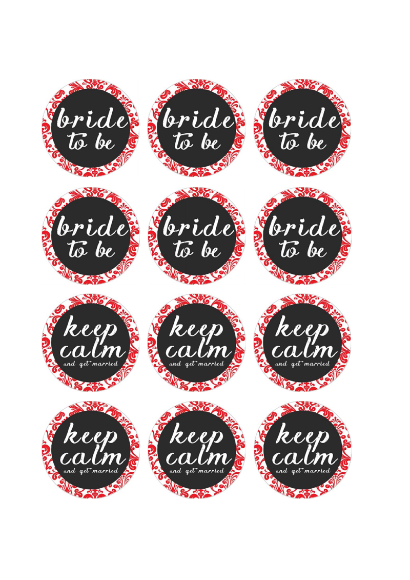 Free Printable Pdf // Bridal Shower Cupcake Toppers, Red Damask - Free Printable Cupcake Toppers Bridal Shower