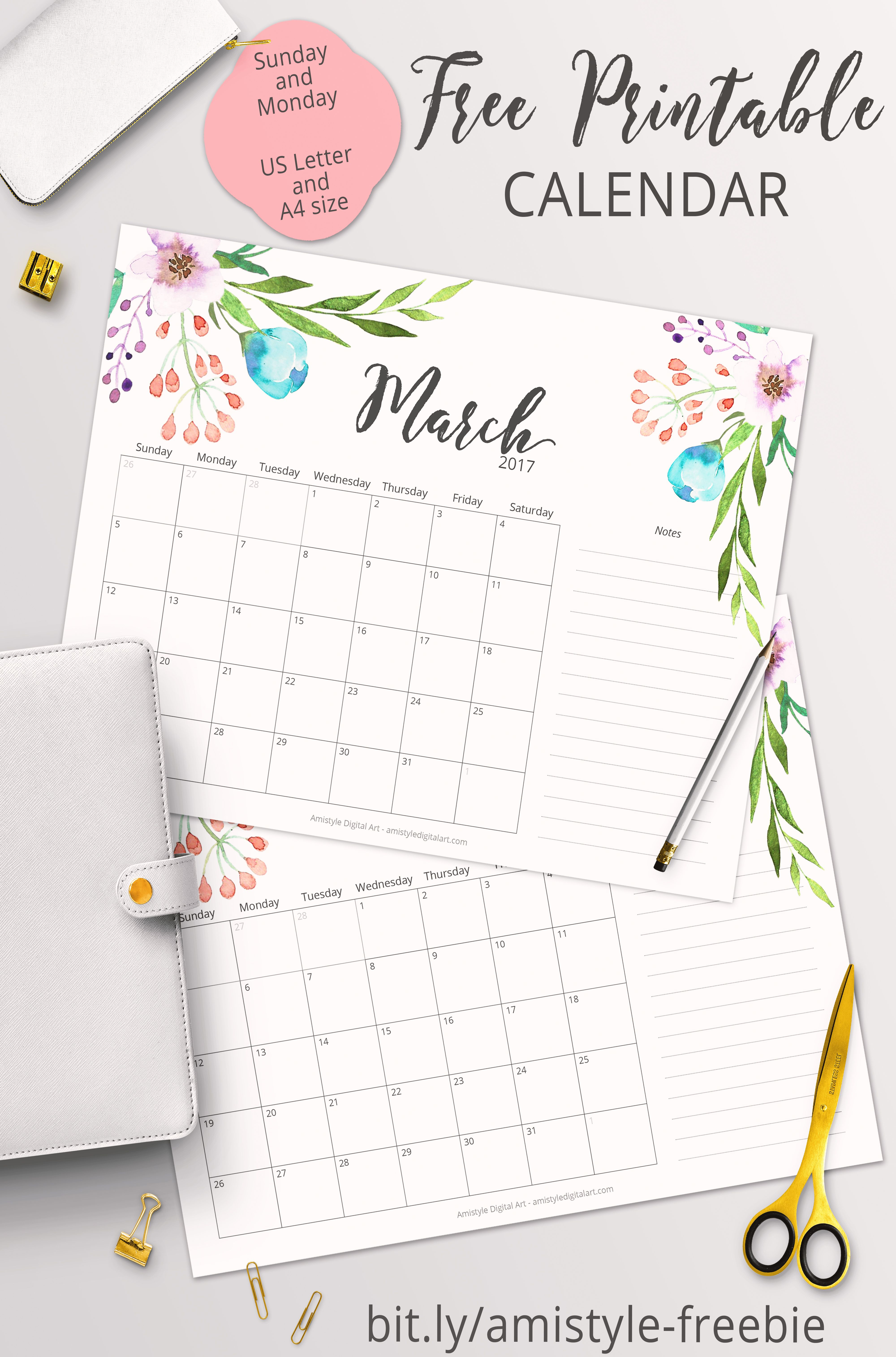 Free Printable Planner - 2017 March Calendar With Beautiful - Free Cute Printable Planner 2017
