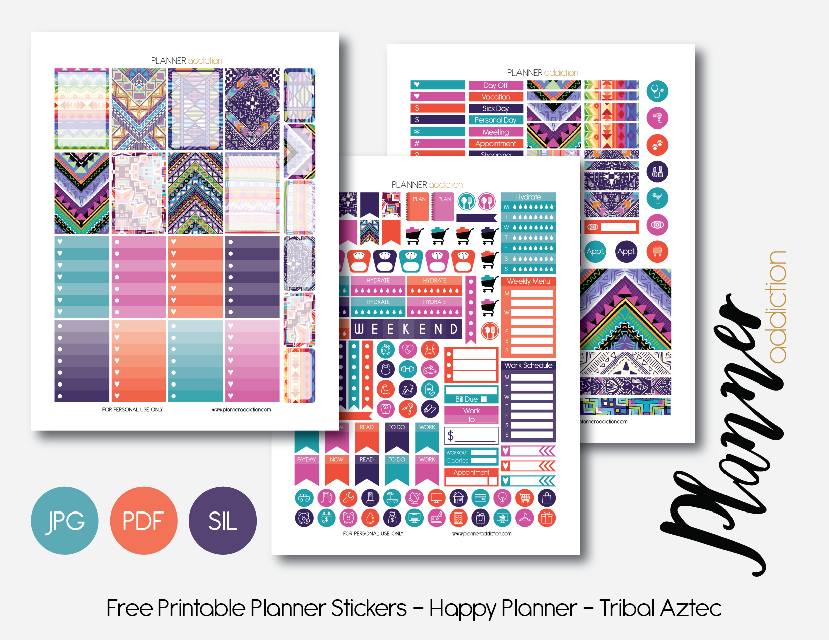 Free Printable Planner Stickers – Planner Addiction - Happy Planner Free Printable Stickers