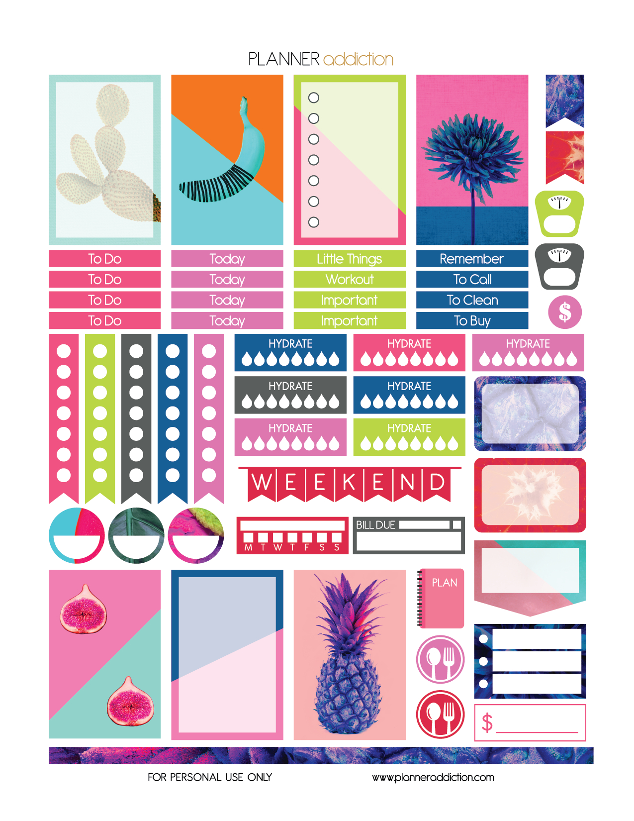 Free Printable Planner Stickers - Tropical Pop Art - Happy Planner - Happy Planner Free Printable Stickers
