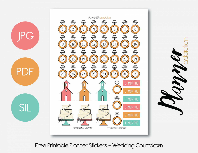 Free Printable Planner Stickers - Wedding Countdown | ♡ Wedding - Free Printable Wedding Countdown