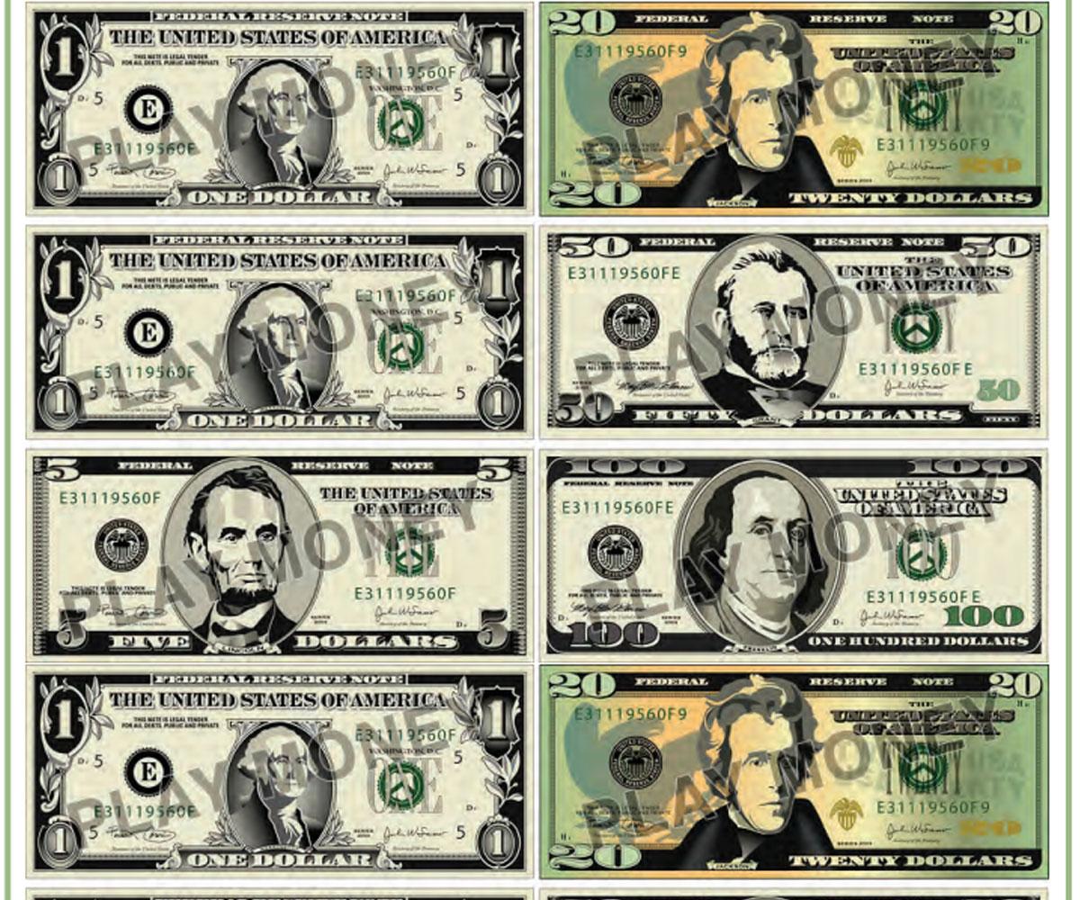Free Printable Play Money - Familyeducation - Free Printable Dollar Bill Template