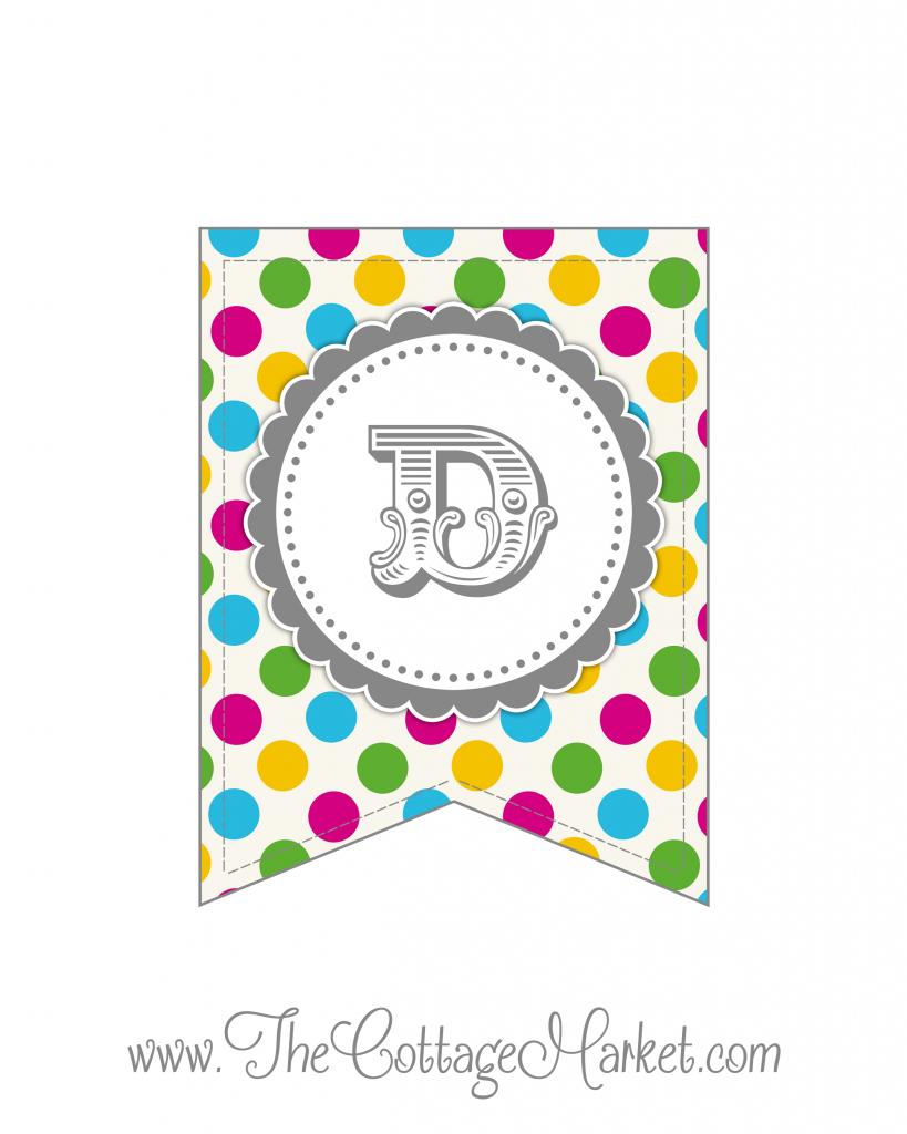 Free Printable Polka Dot Party Banner | The Cottage Market - Free Printable Whole Alphabet Banner
