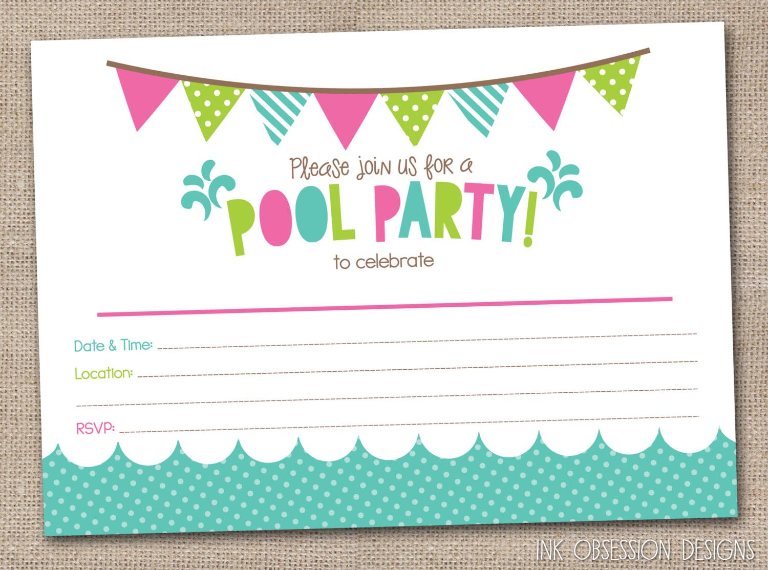 Free Printable Pool Party Birthday Invitations   Backyard Design Ideas - Free Printable Pool Party Invitation Cards