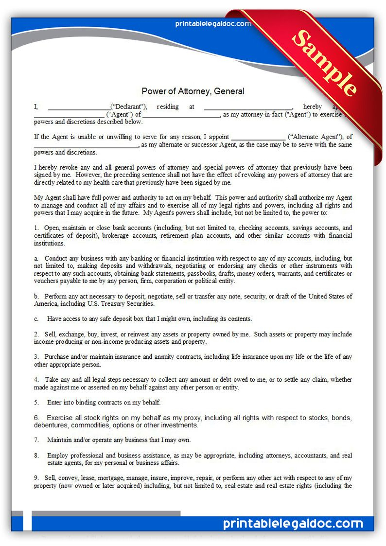 Free Printable Power Of Attorney, General Legal Forms | Free Legal - Free Printable Power Of Attorney Form California
