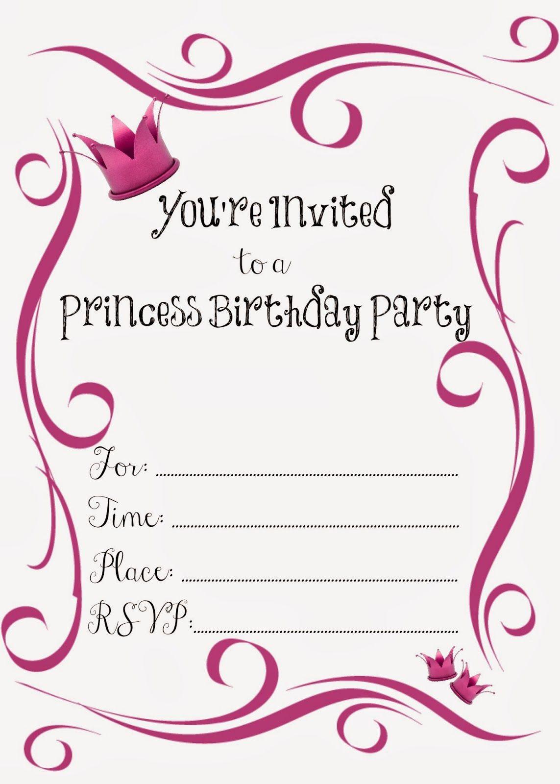 Free Printable Princess Birthday Party Invitations #freeprintables - Free Printable Princess Invitation Cards
