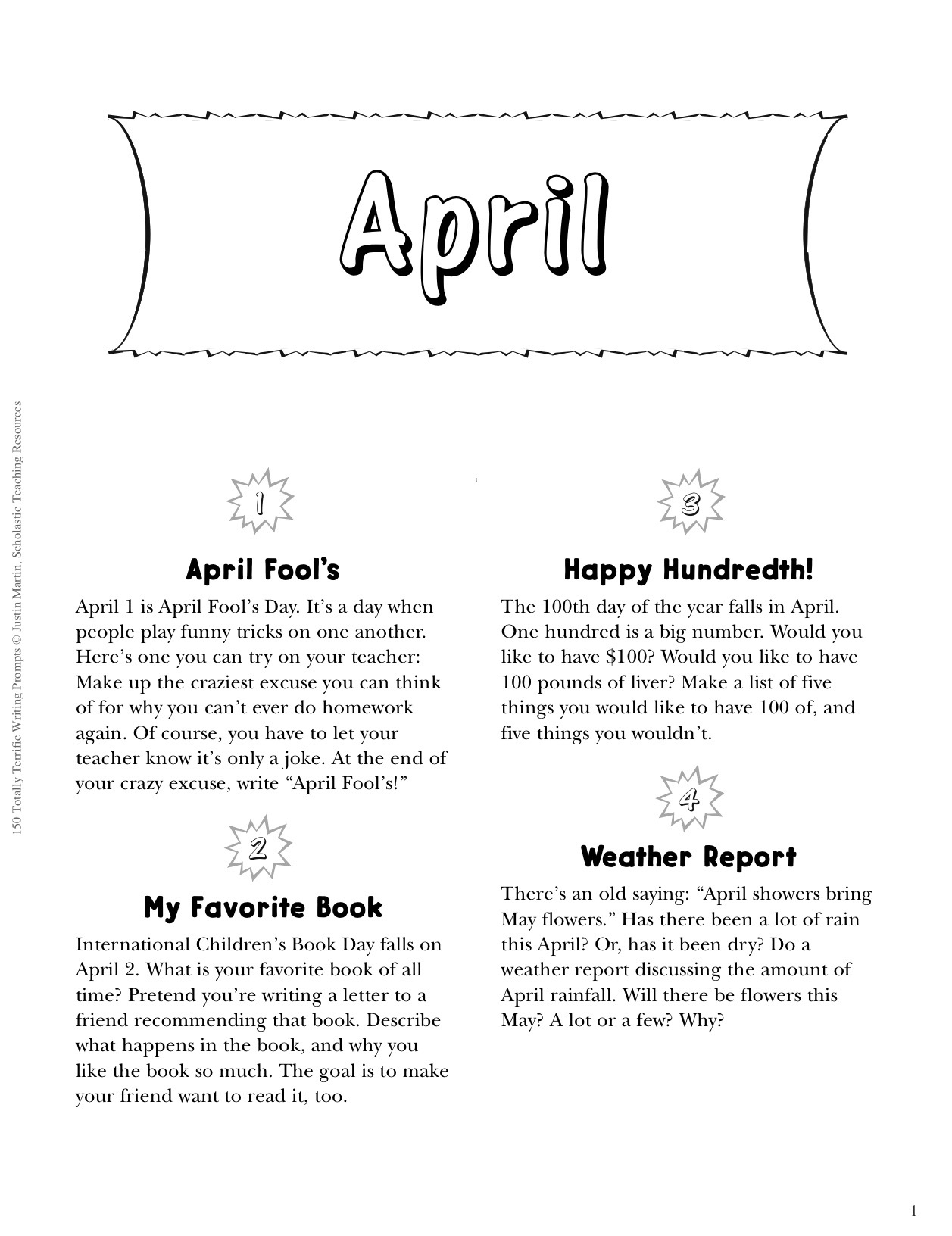 Free Printable Prompts To Spring Writing To Life | Scholastic - Get Out Of Homework Free Pass Printable