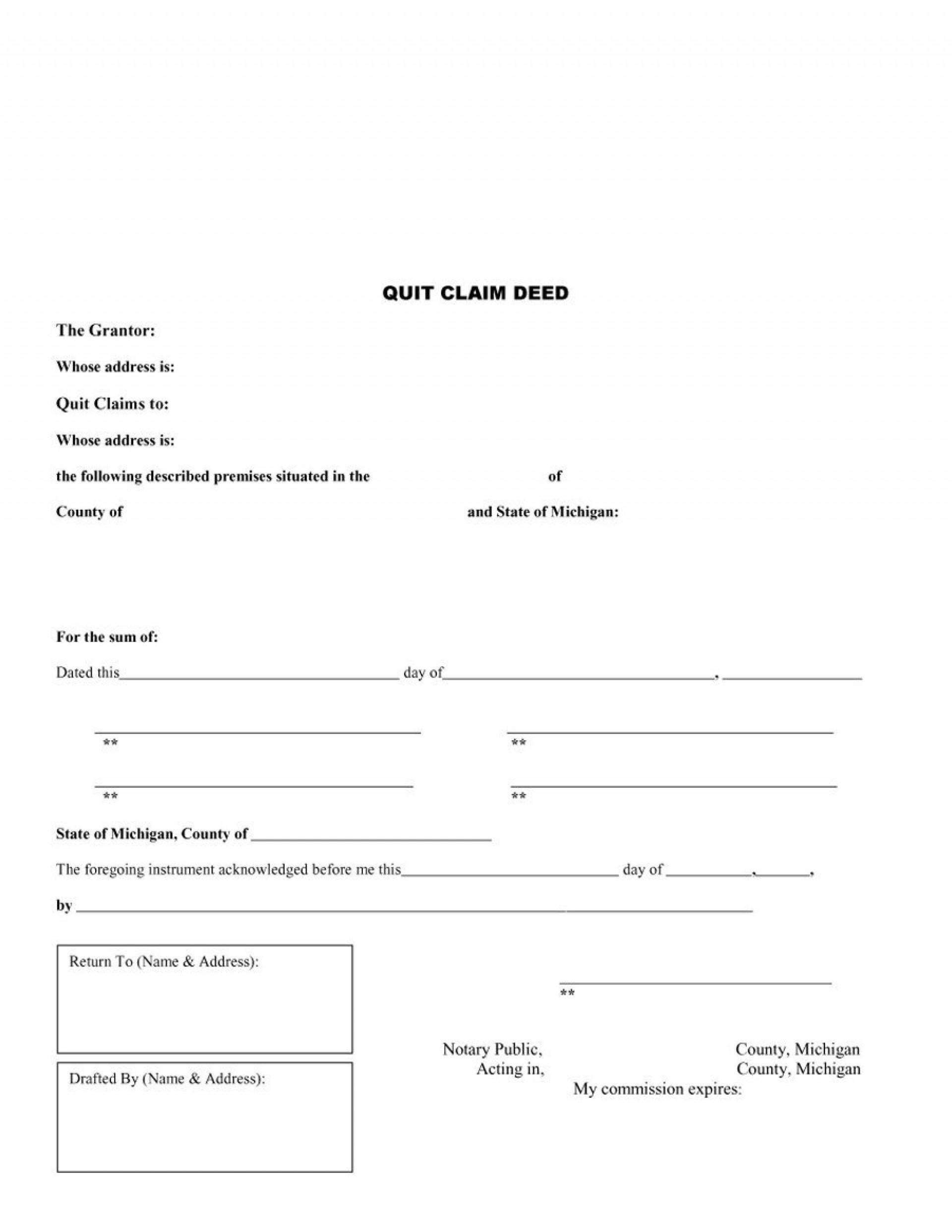 Free Printable Quit Claim Deed Form Michigan | Mbm Legal - Free Printable Quit Claim Deed Form