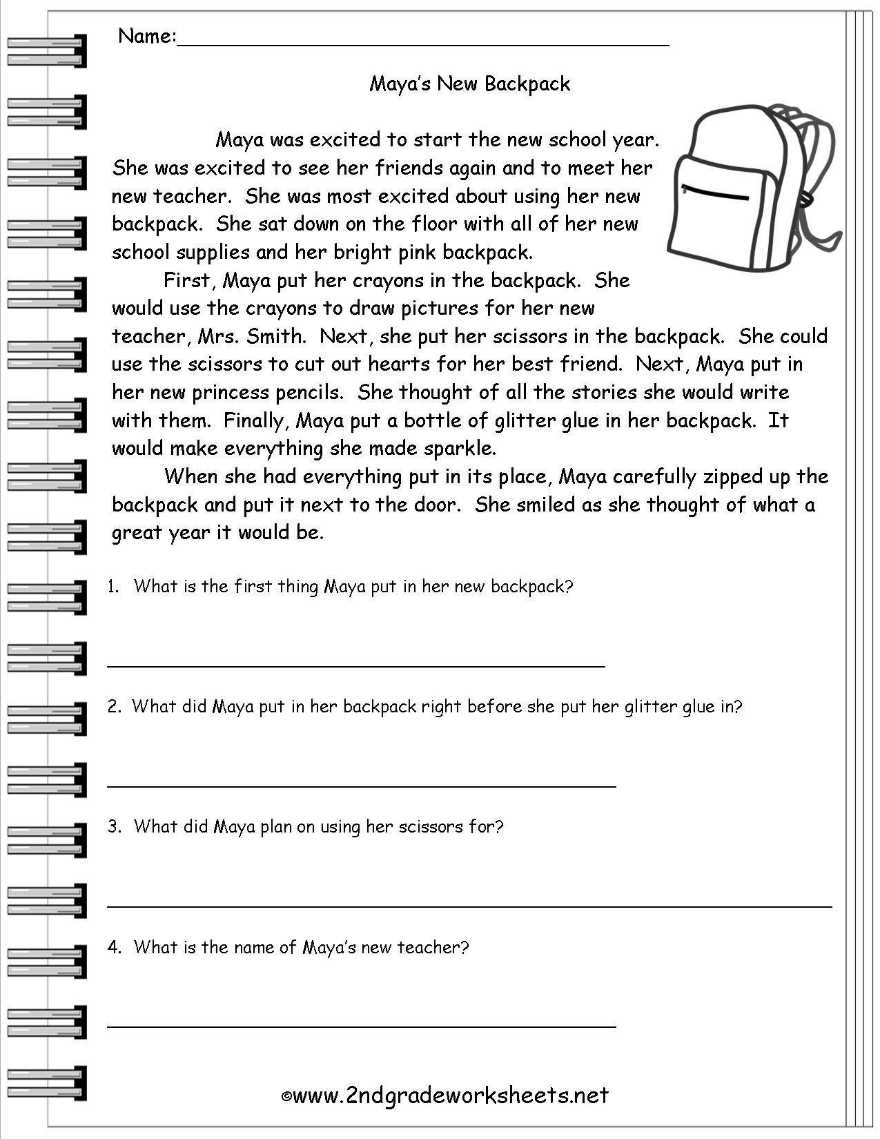 Free Printable Reading Comprehension Worksheets 3Rd Grade To Print - Free Printable Reading Comprehension Worksheets For Adults