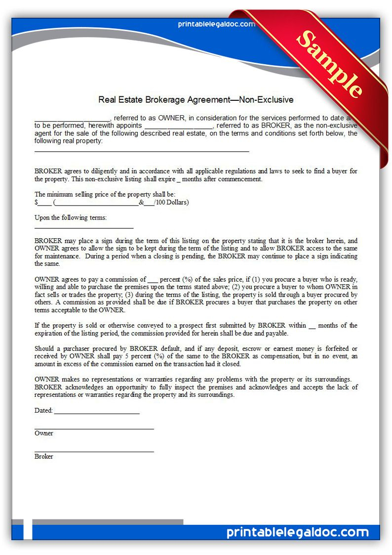 Free Printable Real Estate Brokerage Agreement, Non Exclusive - Find Free Printable Forms Online