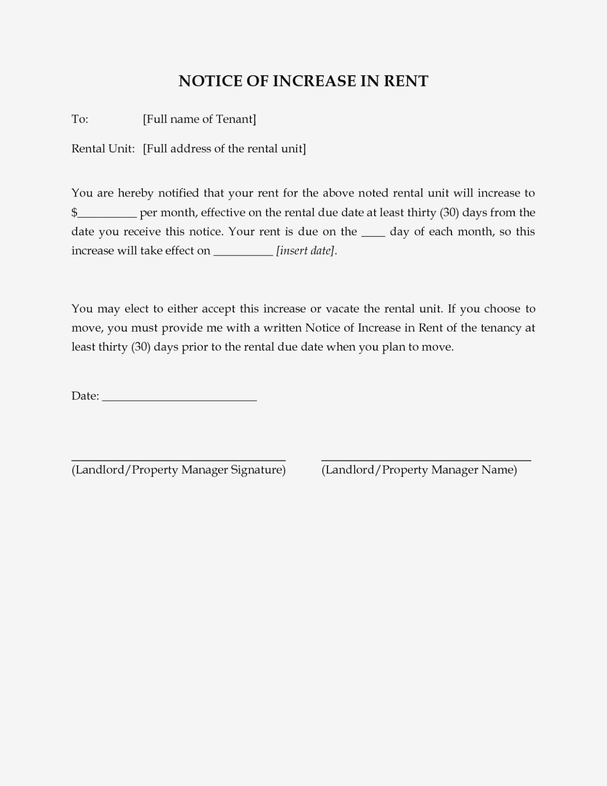 Free Printable Rent Increase Letter | Sample Documents – Free - Free Printable Rent Increase Letter