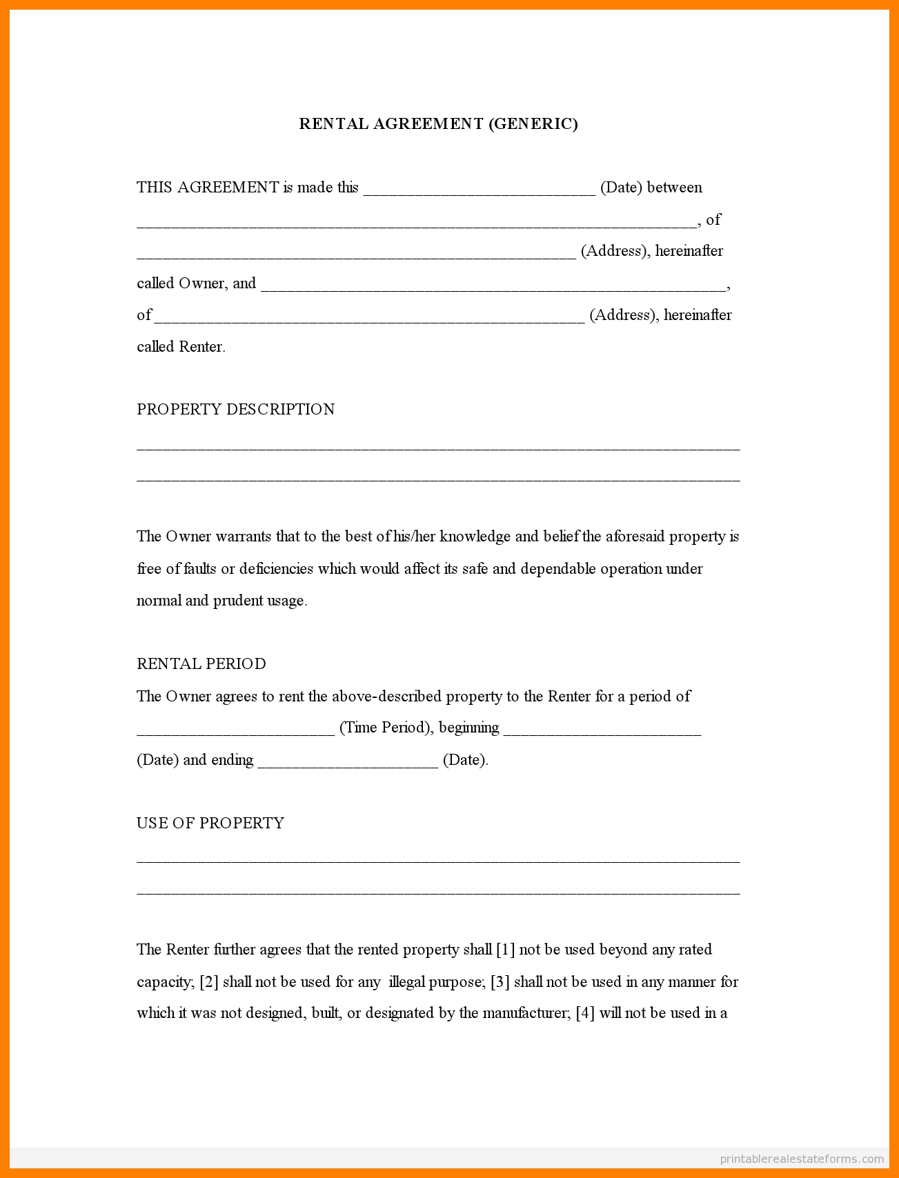 Free Printable Rental Agreement Forms | Bestprintable231118 - Rental Agreement Forms Free Printable