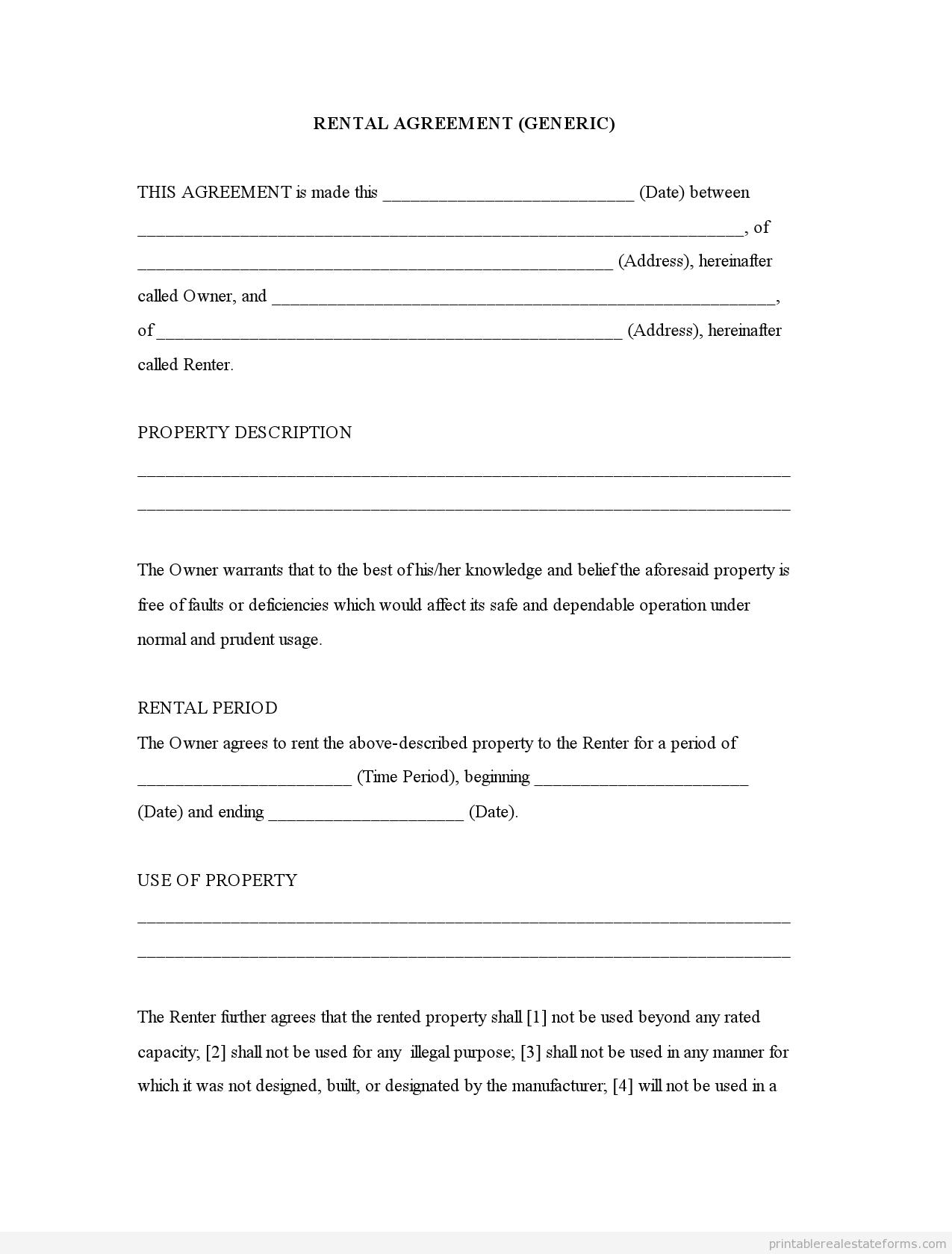Free Printable Rental Agreement   Rental Agreement (Generic)0001 - Free Printable Rental Application Form