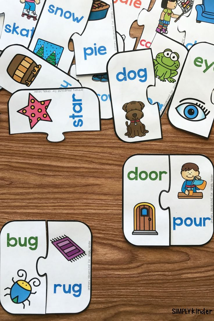 Free Printable Rhyming Puzzles | I ♥ Kindergarten | Pinterest - Free Printable Rhyming Activities For Kindergarten