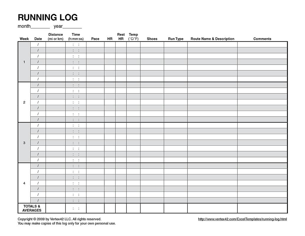 Free Printable Running Log (Pdf) From Vertex42   Running - Free Printable Running Log