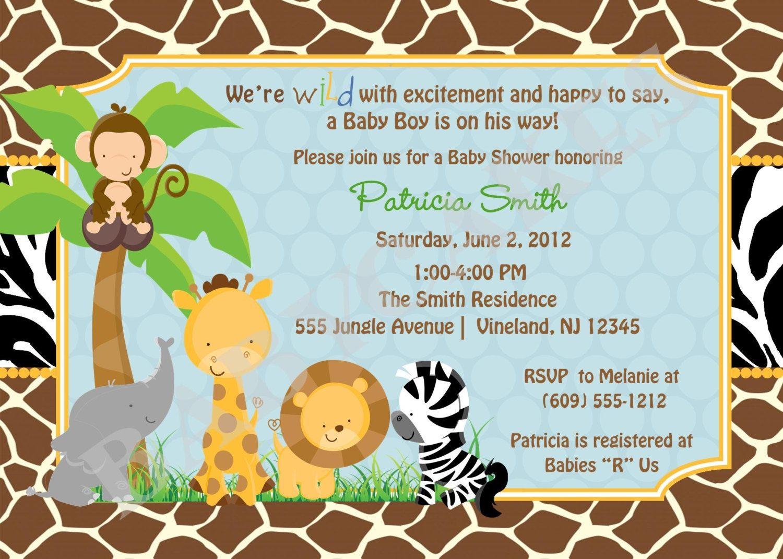 Free Printable Safari Baby Shower Invitations Safari Ba Shower - Free Printable Jungle Safari Baby Shower Invitations