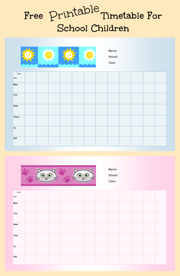 Free Printable School Timetable For Kids ~ Parenting Times - Free Printable Schedule