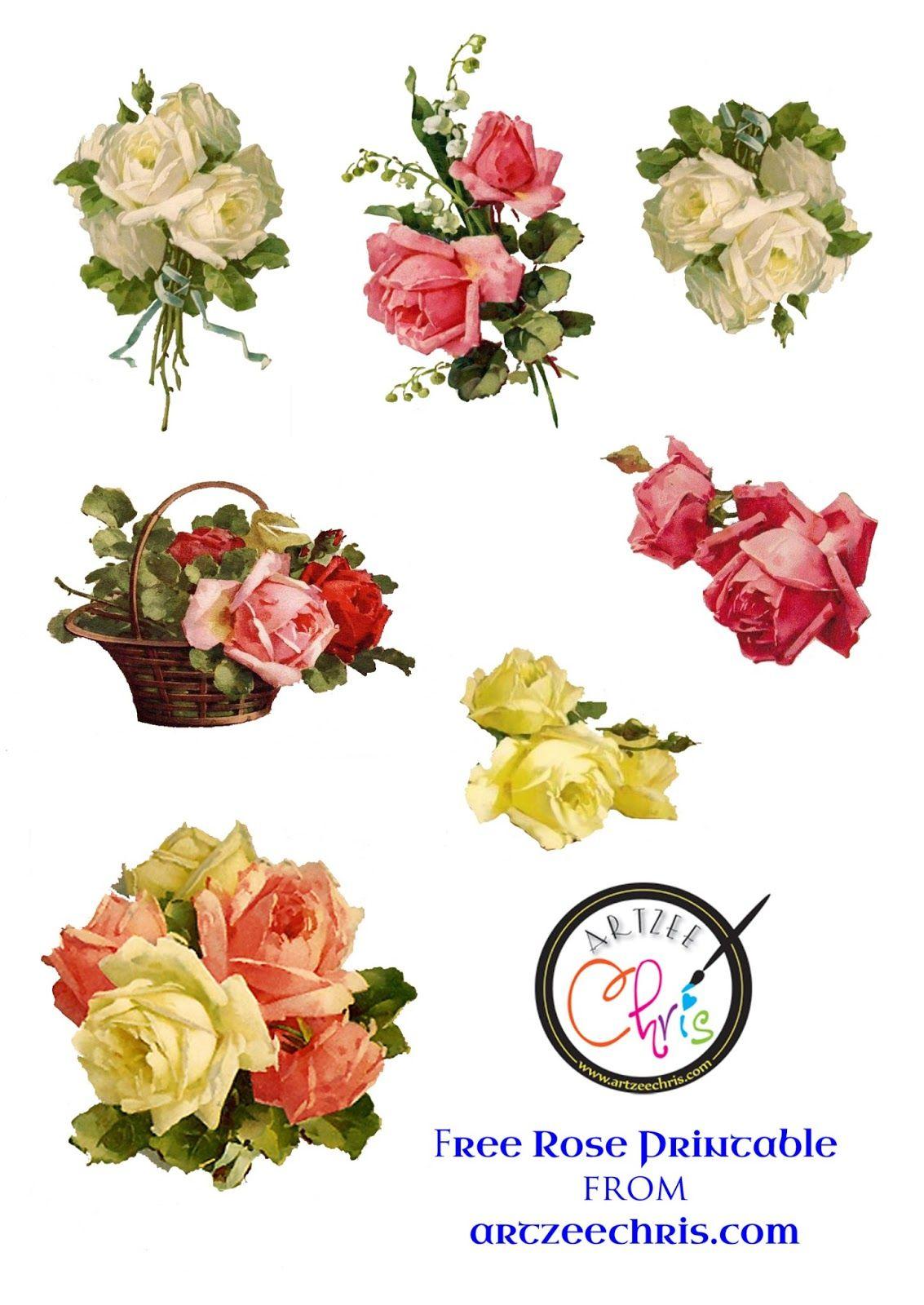 Free Printable Scrapbook Cutouts   Free Printable Of Victorian Roses - Free Printable Roses