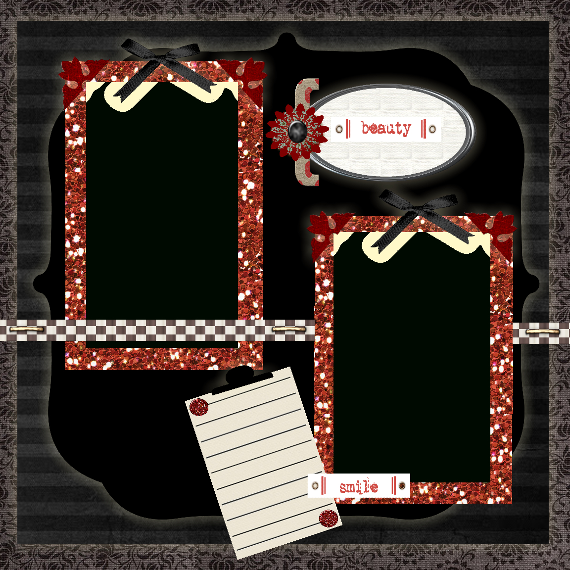 Free Printable Scrapbook Layouts | Black, Red And White Beauty - Free Printable Scrapbook Pages