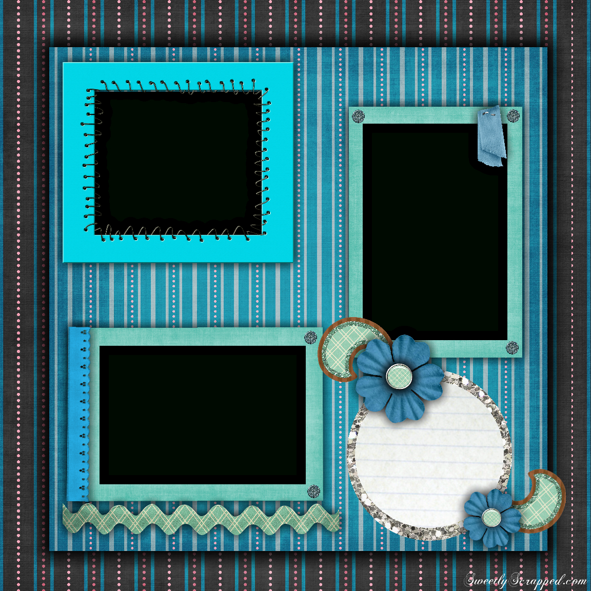 Free Printable Scrapbook Layouts | Blue And Stripes Layout File Size - Free Printable Scrapbook Templates