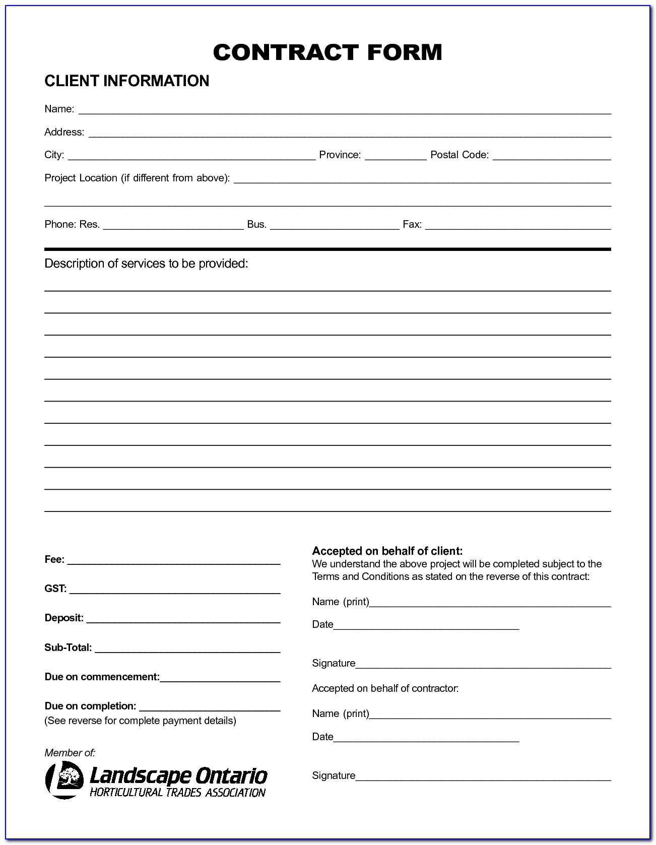 Free Printable Service Contract Forms - Form : Resume Examples - Free Printable Service Contract Forms