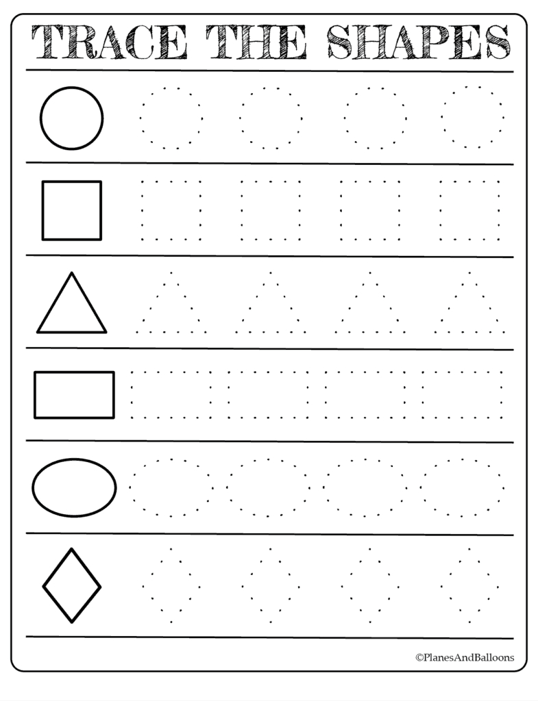 Free Printable Shapes Worksheets For Toddlers And Preschoolers - Free Printable Tracing Worksheets