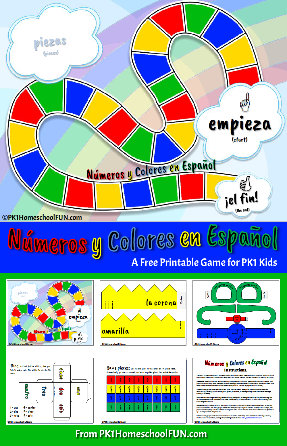Free Printable Spanish Numbers & Colors Game - Pk1Homeschoolfun - Free Printable Spanish Numbers