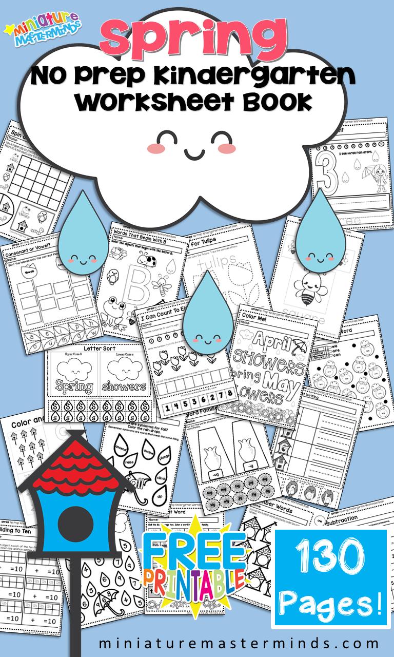 Free Printable Spring No Prep Kindergarten 130+ Page Worksheet Book - Free Printable Pre K Reading Books
