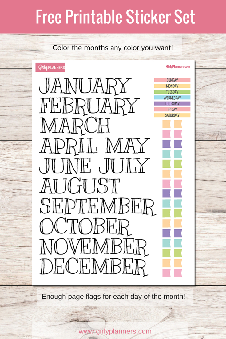Free Printable Sticker Set For Your Planner Or Bullet Journal - Free Printable Months Of The Year Labels