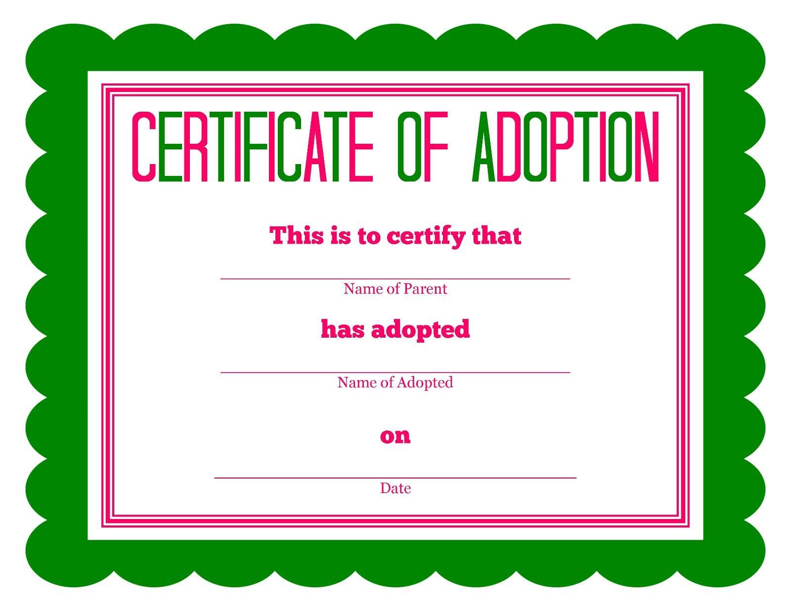 Free Printable Stuffed Animal Adoption Certificate | Free Printables - Fake Adoption Certificate Free Printable