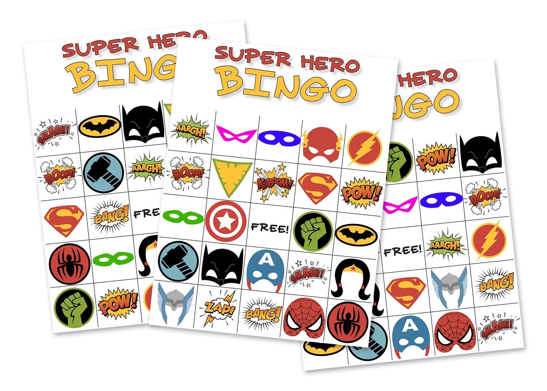 Free Printable Super Hero Bingo Party - Free Printable Superhero Photo Booth Props