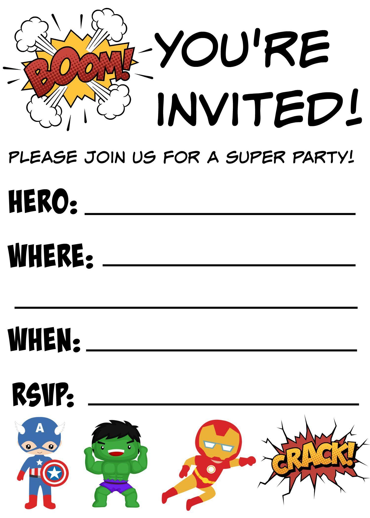 Free Printable Superhero Birthday Invitations | Birthdays - Free Printable Birthday Invitations Pinterest