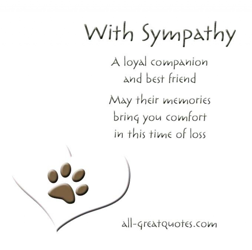 Free Printable Sympathy Cards – Davidbodner.co Within Free Printable - Free Printable Sympathy Card For Loss Of Pet