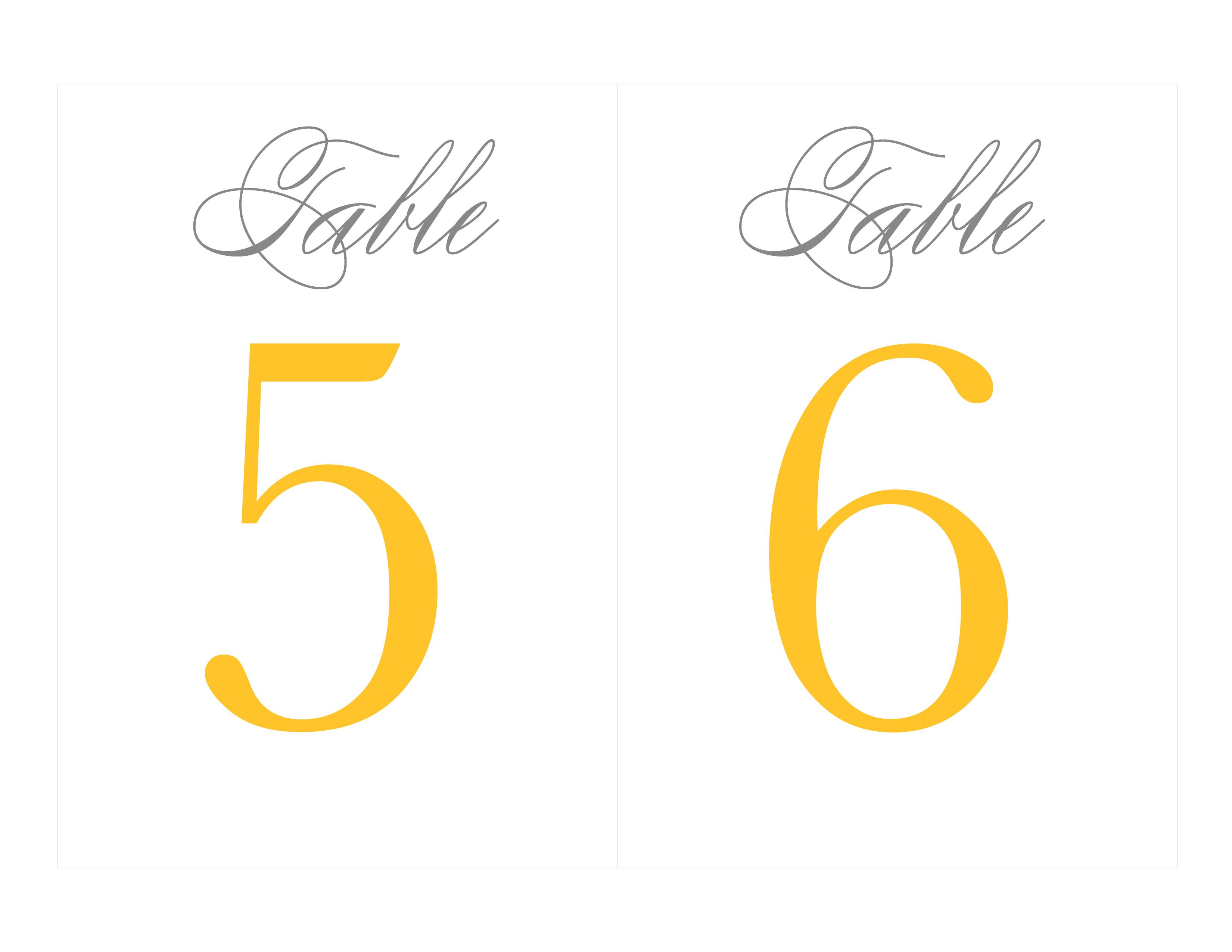 Free Printable Table Numbers | Wedding Ideas - Grey & Yellow - Free Printable Table Numbers 1 20