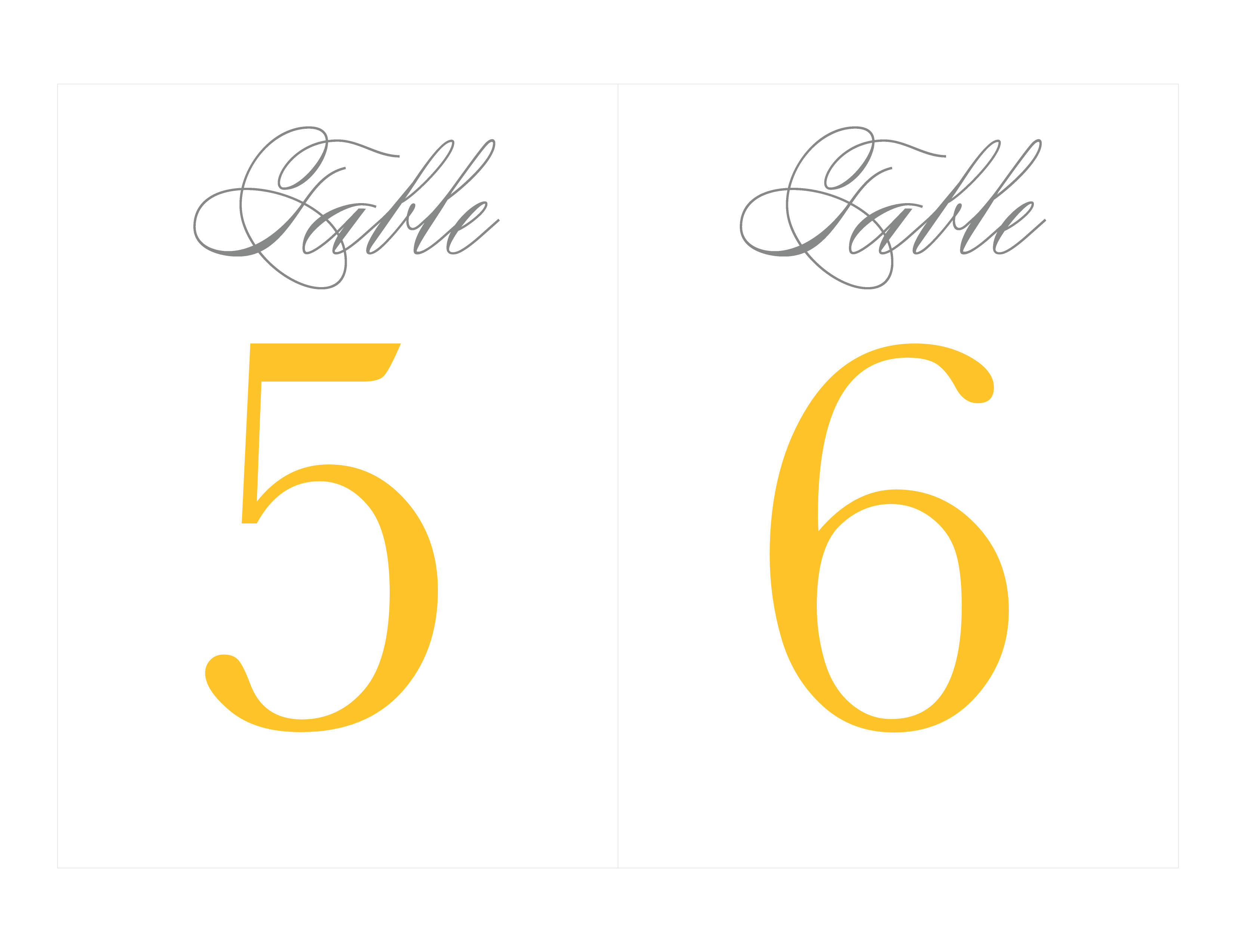 Free Printable Table Numbers | Wedding Ideas - Grey & Yellow - Free Printable Table Numbers