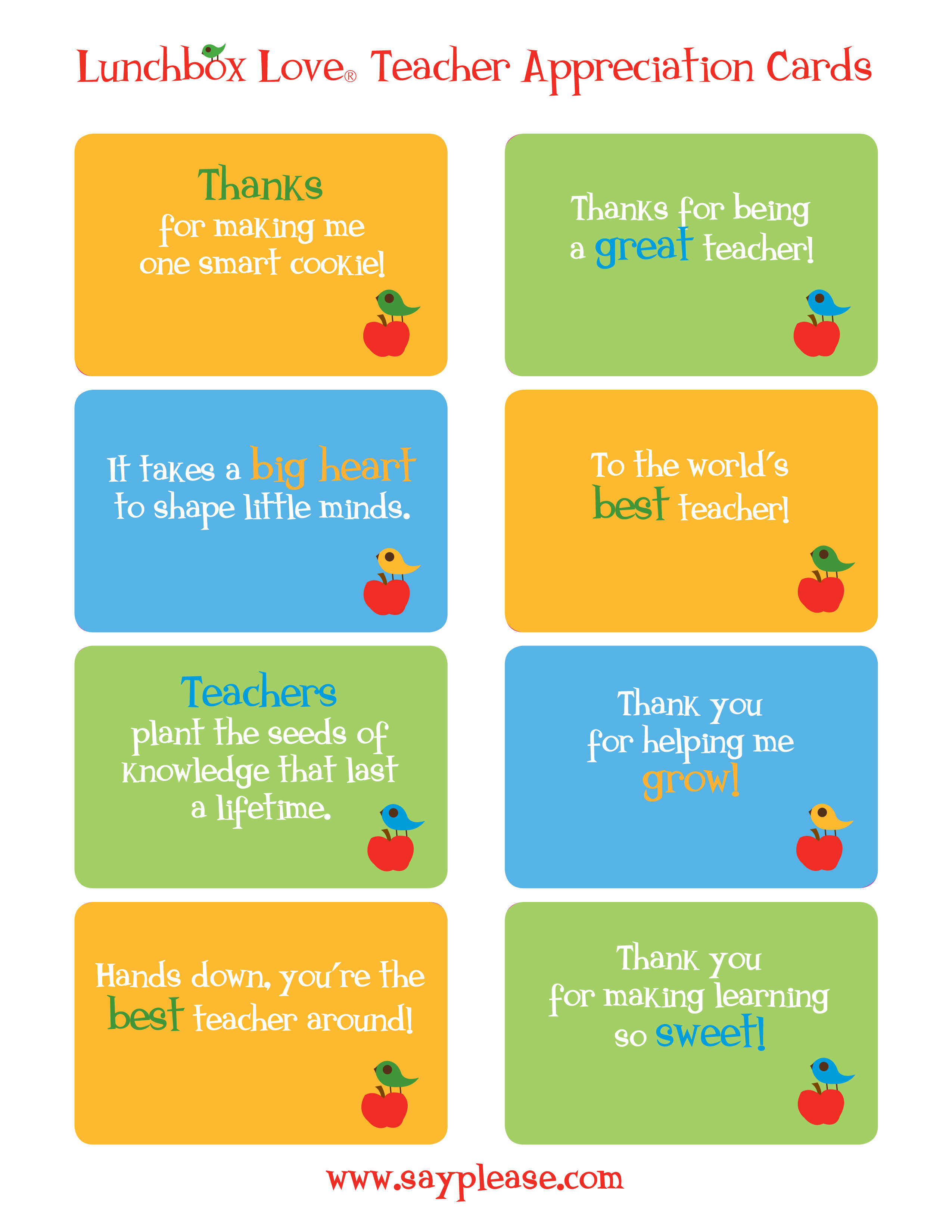 Free Printable Teacher Appreciation Cards - Classy World - Free Printable Teacher Appreciation Cards