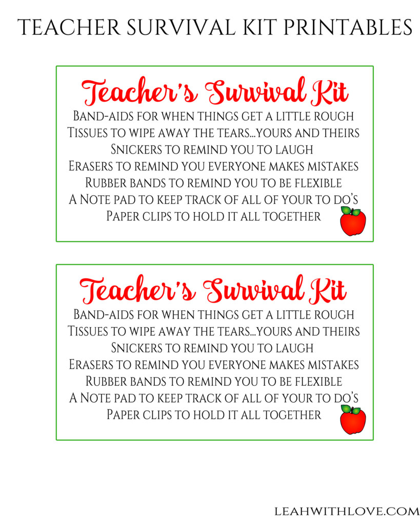 Free Printable} Teacher Survival Kit - Leah With Love - Teacher Survival Kit Free Printable