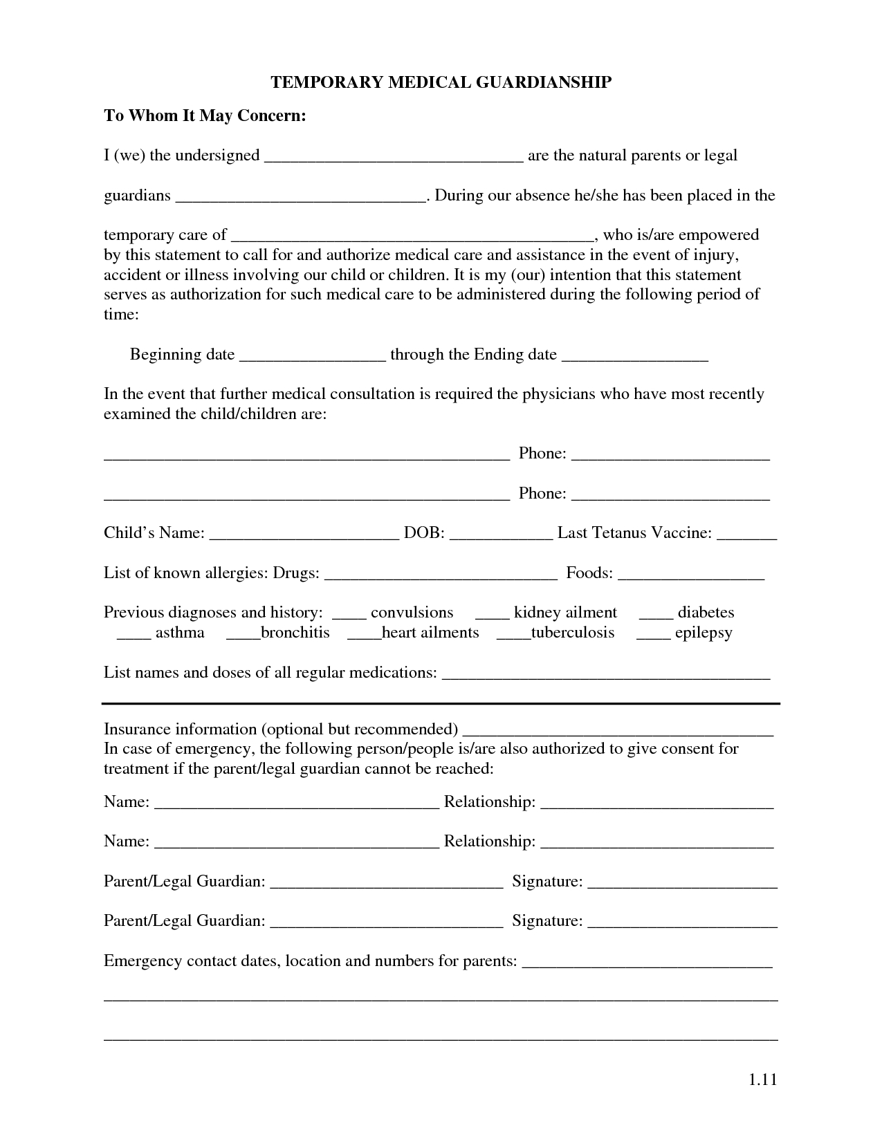 Free Printable Temporary Guardianship Forms   Forms - Free Printable Temporary Guardianship Form