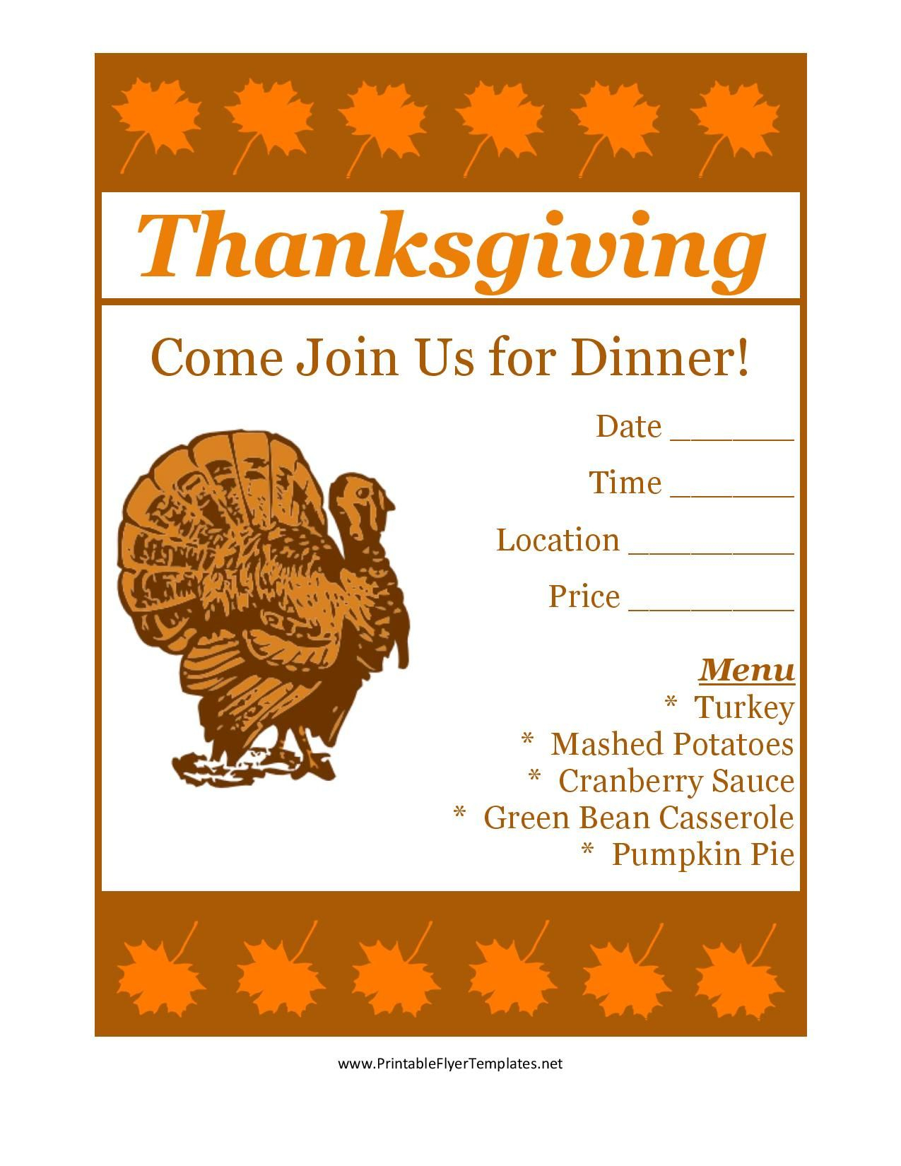 Free Printable Thanksgiving Flyer Invintation Template | Holiday's - Free Printable Flyers For Church