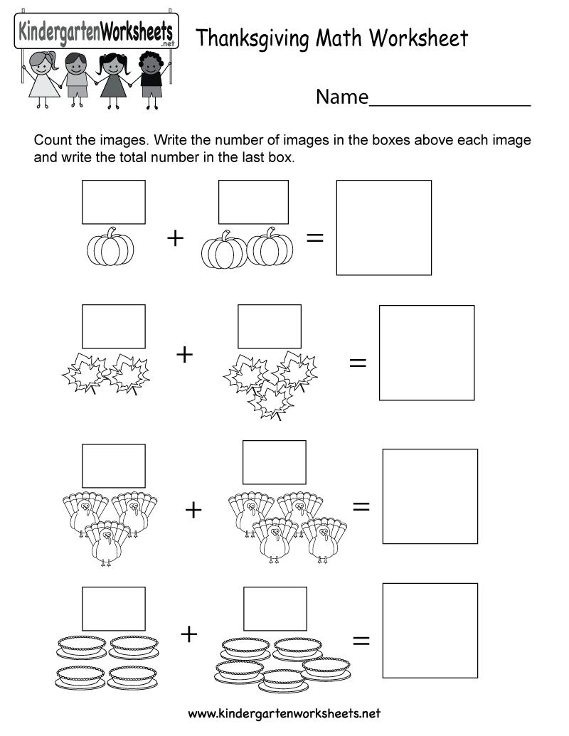 Free Printable Thanksgiving Math Worksheet For Kindergarten - Math Worksheets Thanksgiving Free Printable