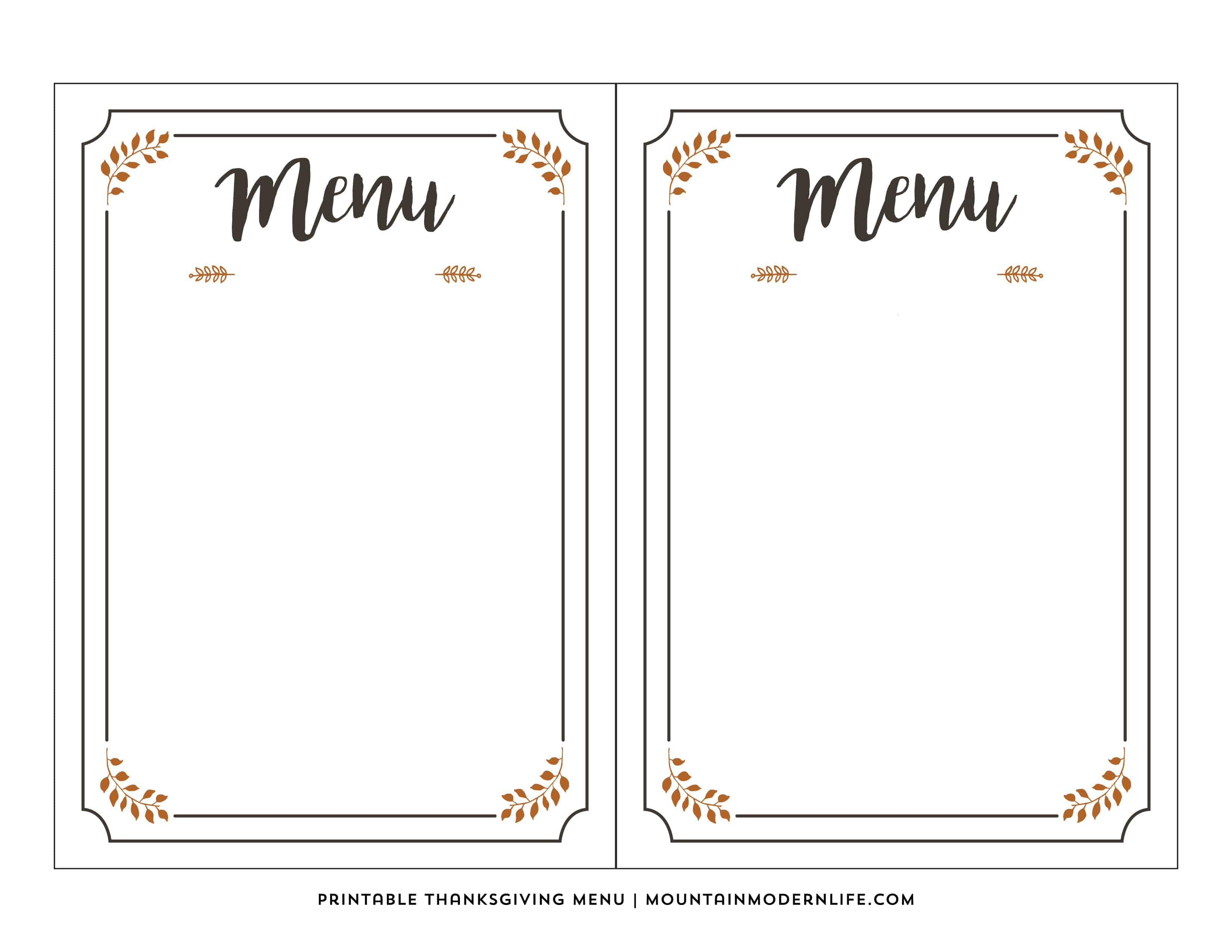 Free Printable Thanksgiving Menu | Mountainmodernlife - Free Printable Menu