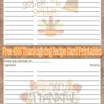 Free Printable Thanksgiving Recipe Cards | Budget | Pinterest   Free Printable Photo Cards 4X6