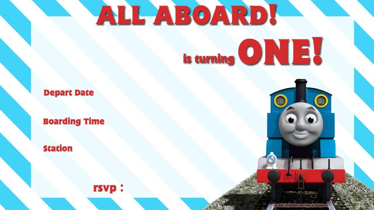 Free Printable Thomas The Train 1St Birthday Invitation | Alex Turns - Thomas Invitations Printable Free