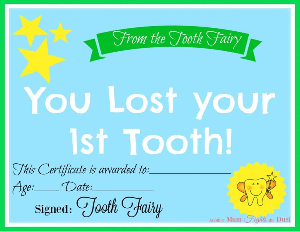Free Printable Tooth Fairy Certificate - Another Mum Fights The Dust - Free Printable First Lost Tooth Certificate