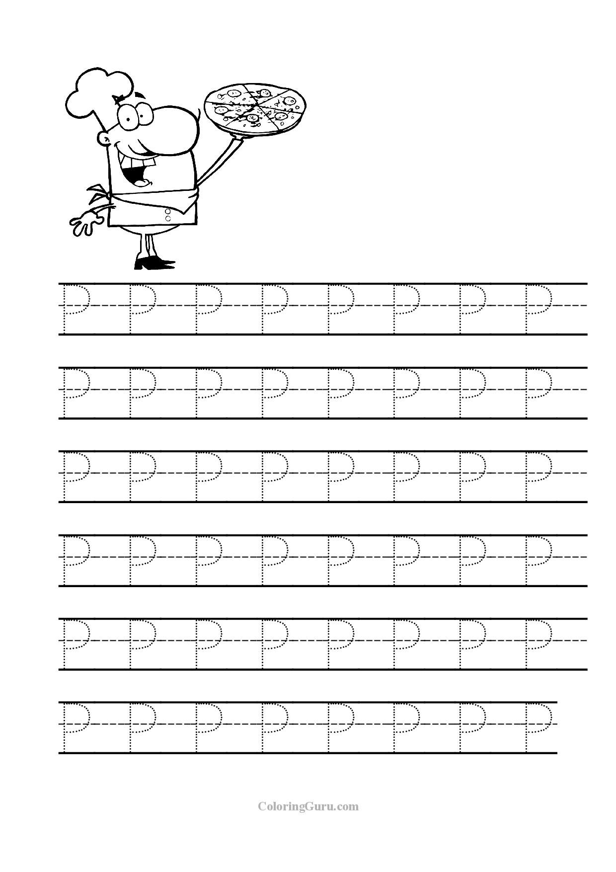 Free Printable Tracing Letter P Worksheets For Preschool   Tracing - Free Printable Traceable Letters