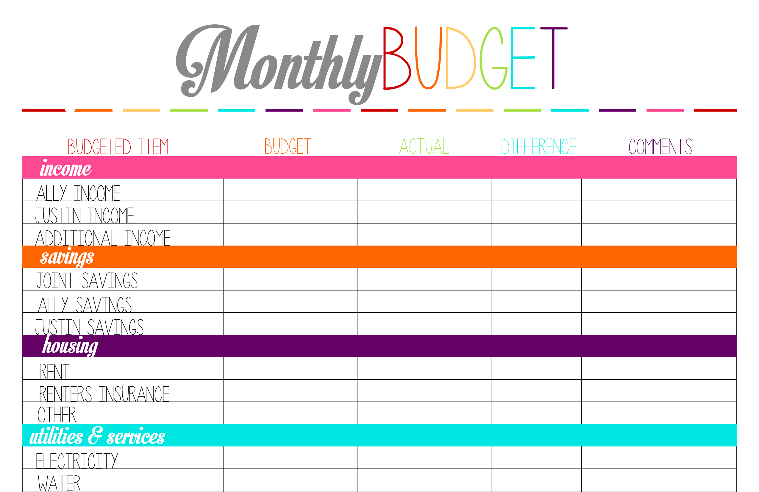 Free Printable Tuesday: Budget Planning Worksheets – Ally Jean Blog - Free Printable Budget Planner