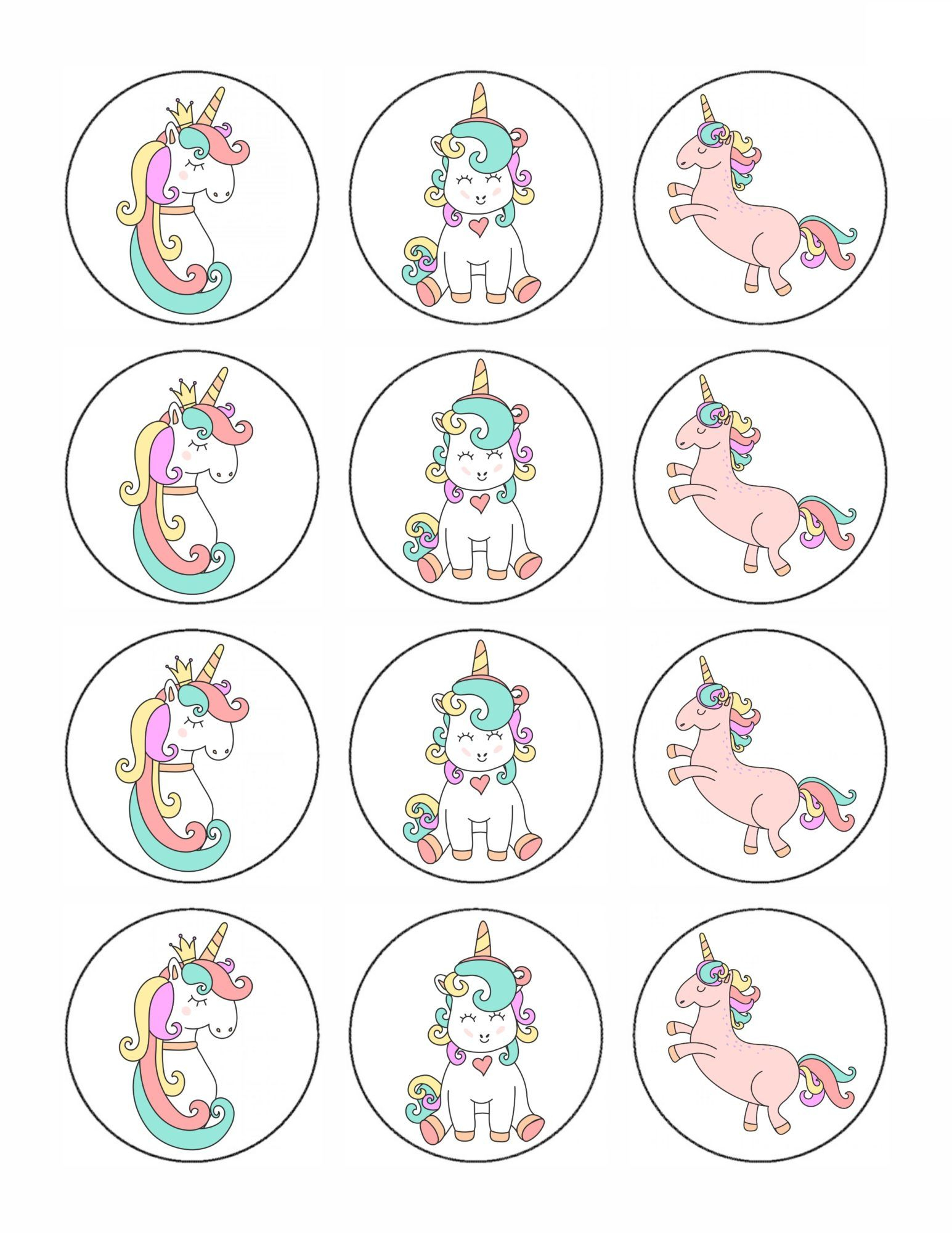 Free Printable Unicorn Cupcake Toppers | Kelsey's Birthday Ideas - Free Printable Unicorn Cupcake Toppers